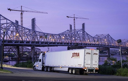 XTRA Lease dry van at dusk by Ohio River in downtown Louisville Kentucky